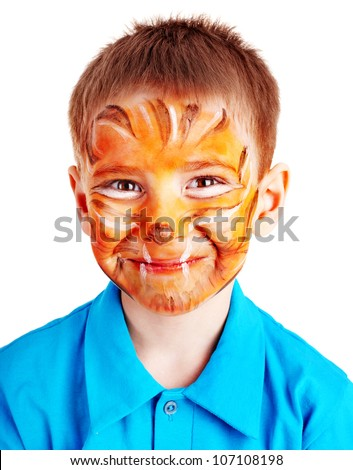 Child boy with paint of face. Make up. - stock photo