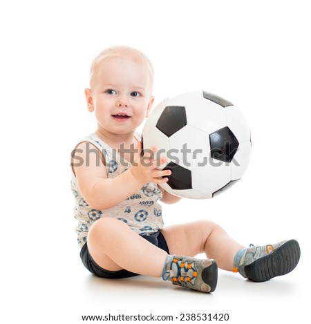 child boy with soccer ball isolated on white - stock photo