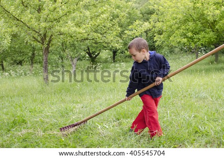 Child boy working in a garden, raking hay or cut grass with a big rake.