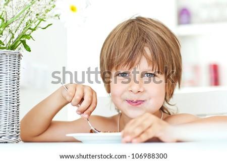 child breakfast - stock photo