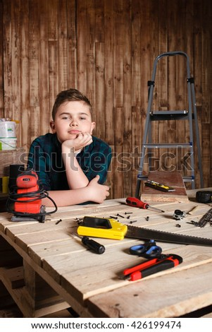 child builder for construction  work concept, funny boy