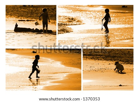Child building sand castle on the seashore - stock photo
