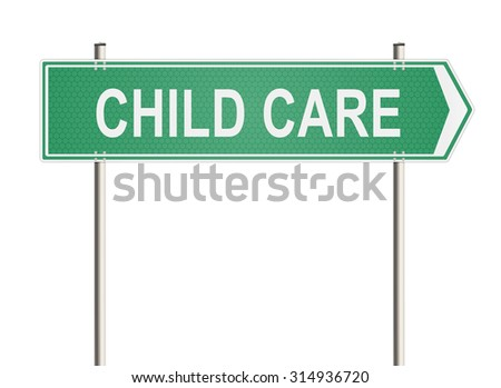 Child care. Road sign on the white background. Raster illustration.