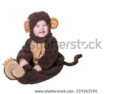 Child. Charming Baby Girl in Monkey costume isolated on White Background  sc 1 st  Shutterstock & Child Charming Baby Girl Monkey Costume Stock Photo (Royalty Free ...