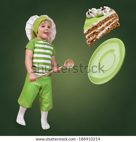 child chef with a big spoon and sweet cake on a green background