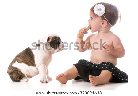 child chewing on dog bone while puppy watches - stock photo