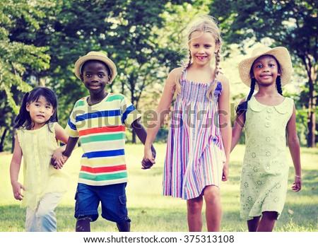 Child Childhood Children Kids Happiness Concept - stock photo
