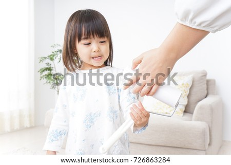 Child clean a room