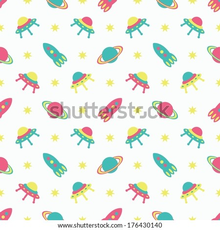 child cosmos seamless background, raster version - stock photo