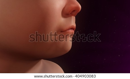 Child cough 3d illustration
