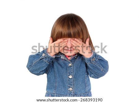 Child covers his eyes with your hands - stock photo