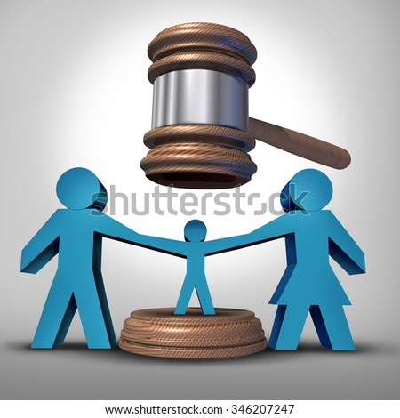 Child custody battle as a family law concept during a legal separation or divorce dispute as a father mother icon holding a child victim with a judge gavel or mallet coming down for parenting rights.