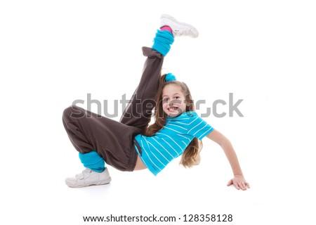 child dancer doing dance exercising - stock photo