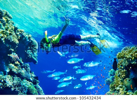 Child diver under water with group coral fish. - stock photo
