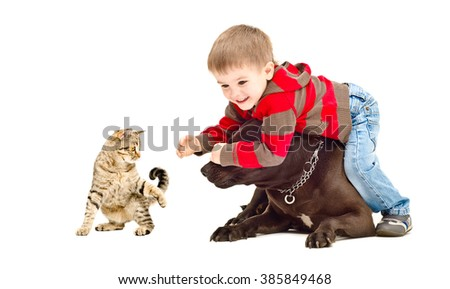 Child, dog and cat cheerfully playing together, isolated on white background - stock photo