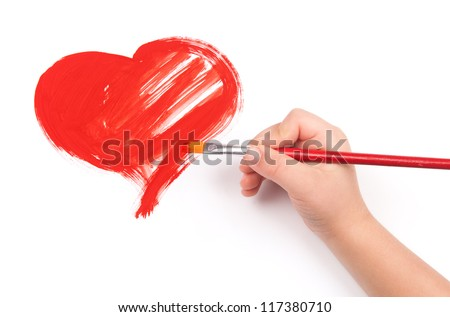 child draw a heart - stock photo