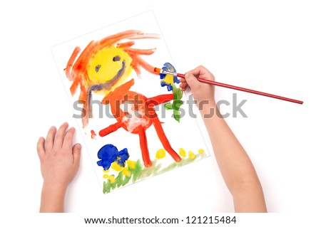 child draw a pregnant woman - stock photo
