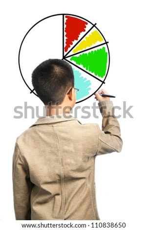 Child drawing a diagram on white background - stock photo