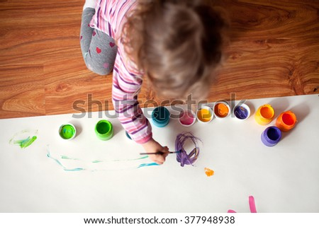 Child drawing and painting