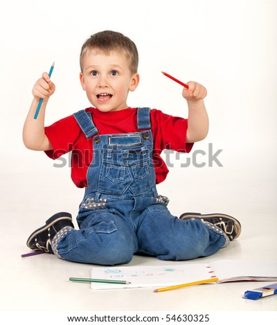 Child drawing and shouting on white background