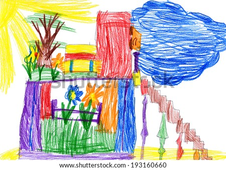 child drawing. fairy house - stock photo