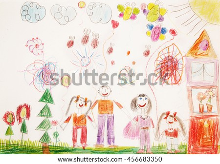 Child drawing.Happy family with two children for a walk - stock photo