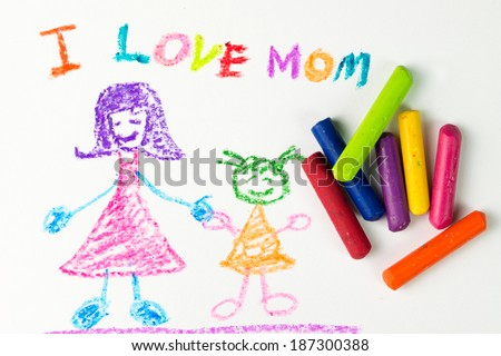 Child drawing of her mother for mother's day - stock photo