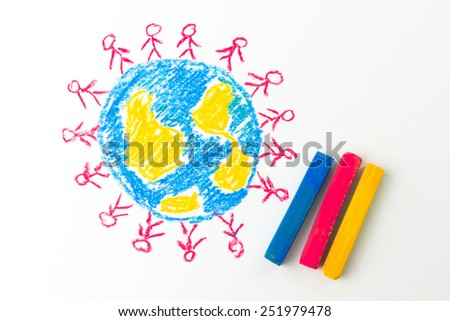 Child drawing of people standing on the globe - stock photo