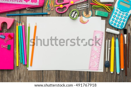 Child drawing, school and creativity concept, blank sheet with copy space, back to school concept, flat lay