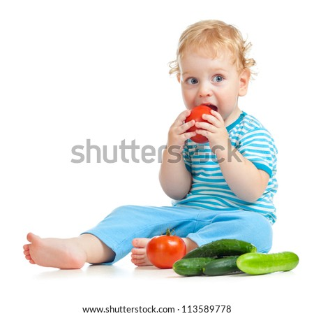 child eating healthy food isolated - stock photo