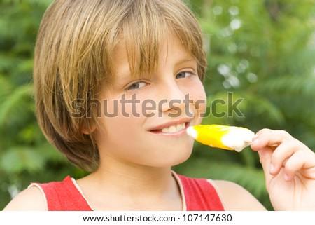 child eating ice cream - stock photo