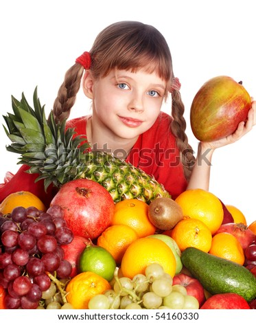 Child eating vegetable and fruit. Isolated.