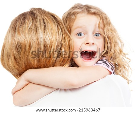 Child embracing mother. Girl with female.