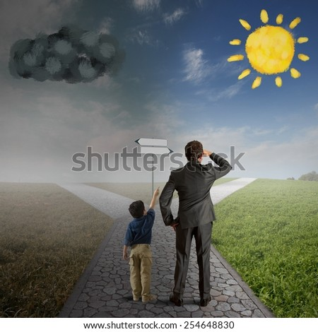 Child encourages a man the right way - stock photo