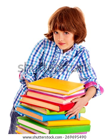 Child female with stack of books. Isolated. - stock photo