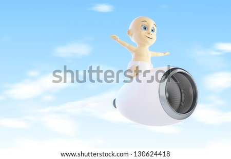 child flies to the engine from the airplane 3d Illustrations - stock photo