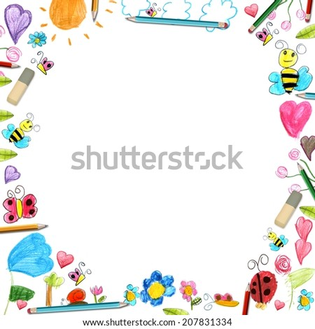 child flowers frame - scribbles drawings background isolated on white - stock photo