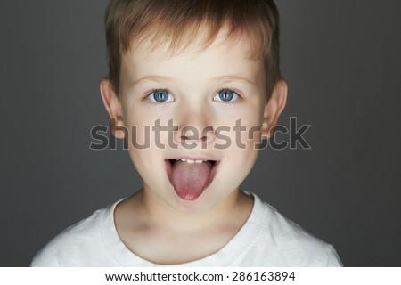 child. funny little boy. joy. 5 years old.kids emotion - stock photo