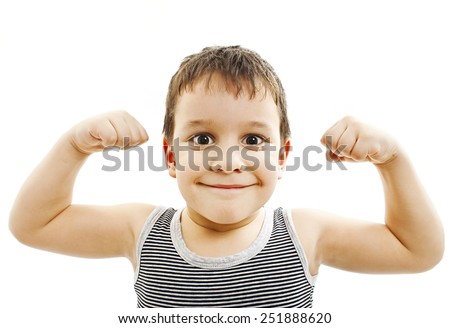Child. Funny Little Boy.Sport Handsome Boy. Strong. bodybuilder. showing his hand biceps muscles.  Isolated on a white background   - stock photo