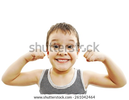 Child. Funny Little Boy.Sport Handsome Boy. Strong. bodybuilder. showing his hand biceps muscles  - stock photo