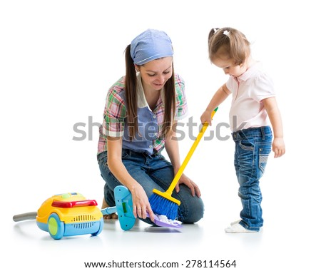 Child girl and mom cleaning room isolated - stock photo