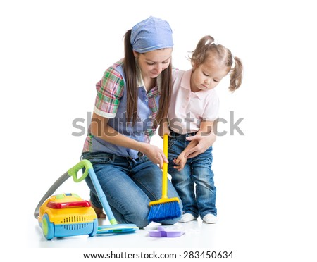 Child girl and mother cleaning room isolated - stock photo