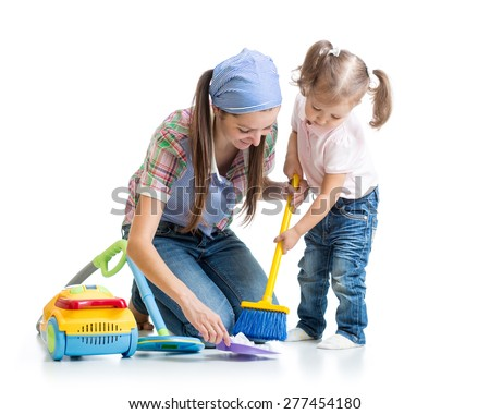 Child girl and mother sweep floor isolated - stock photo