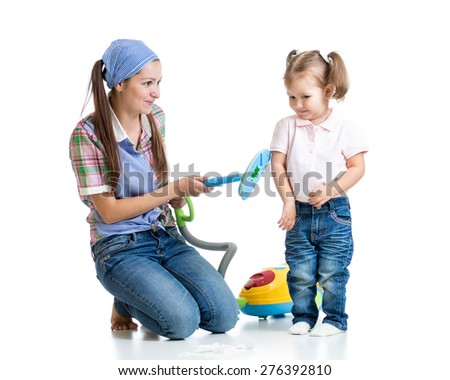 Child girl and mother with vacuum cleaner isolated - stock photo