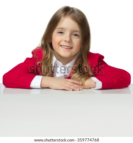 Child girl caucasian white poster sheet.Kid female portrait isolated white poster empty copy space background. - stock photo