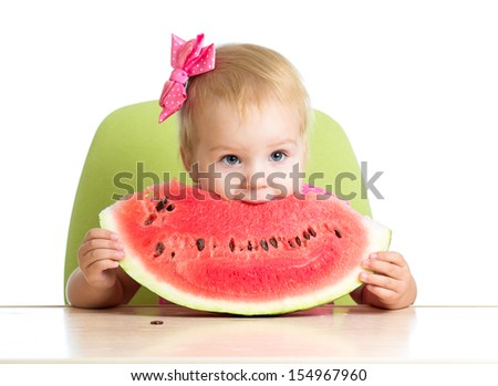 child girl eating watermelon - stock photo