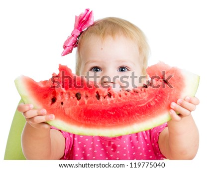 Child girl eating watermelon isolated on white background - stock photo