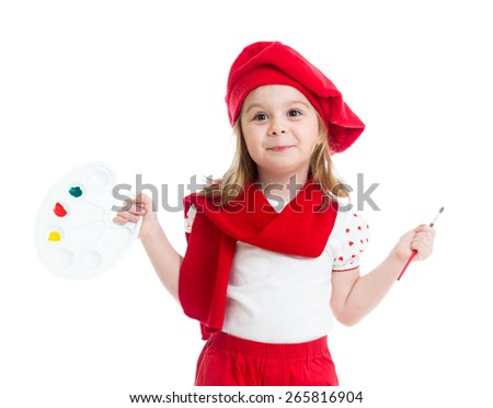 child girl in artist costume with paint isolated - stock photo