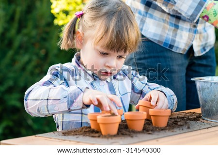 child girl planting flower seeds with mother. Gardening, planting concept - mother and daughter planting flower seeds into small pots. Bulbs flowering - stock photo