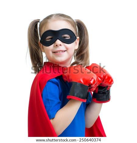 child girl playing superhero isolated on white - stock photo